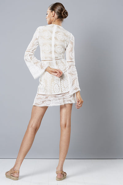 WISTERIA LONG SLEEVE DRESS WHITE