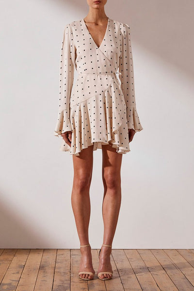 O'DELL WRAP MINI DRESS - CREAM