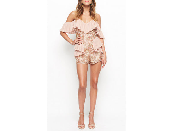 LET'S GET LOUD PLAYSUIT ROSE GOLD