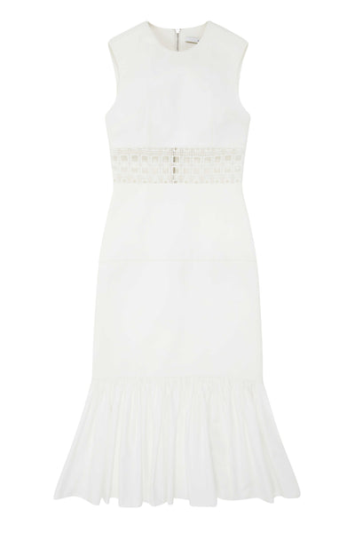 WHITE CAGE PANEL GATHER MIDI DRESS