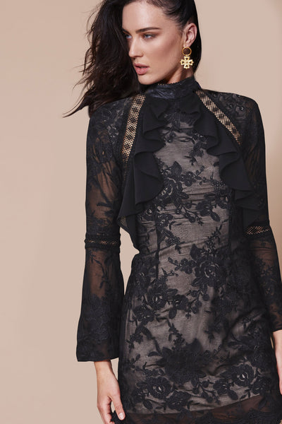 SORRENTO LONG SLEEVE DRESS BLACK