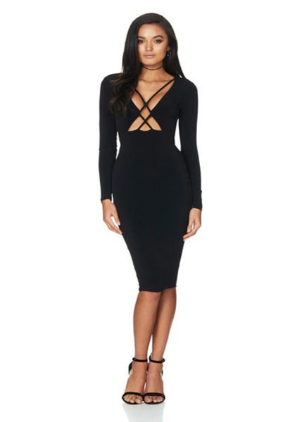 Highness Long Sleeve Midi - Black