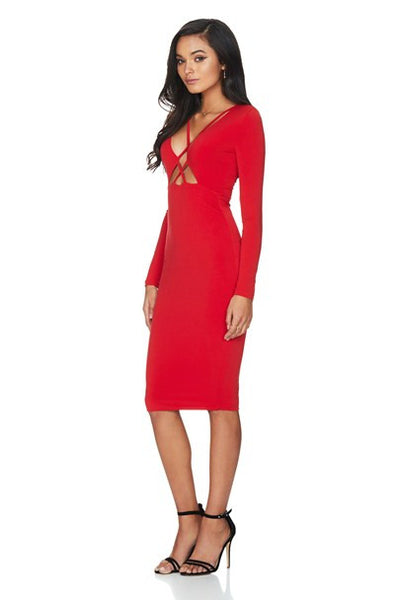 Highness Long Sleeve Midi - Cherry