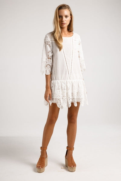 Prairie White Mini Dress