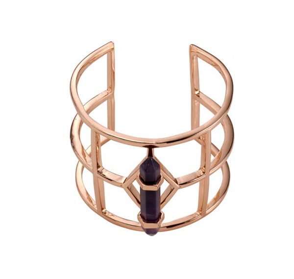 Spanish Moss Grand Cuff - Amethyst/Rose Gold