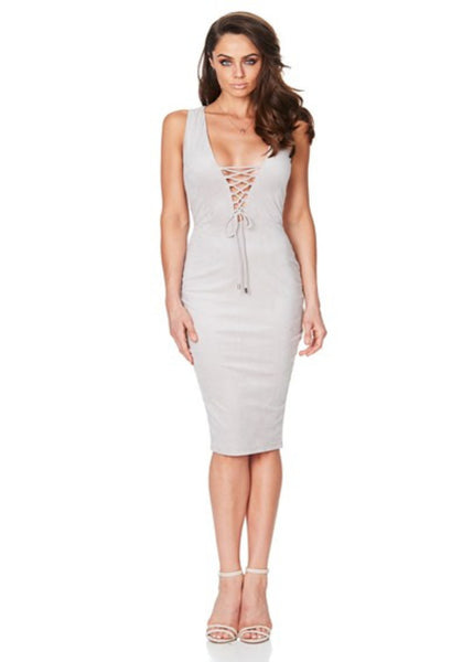 Venus Suede Midi Dress - Dove