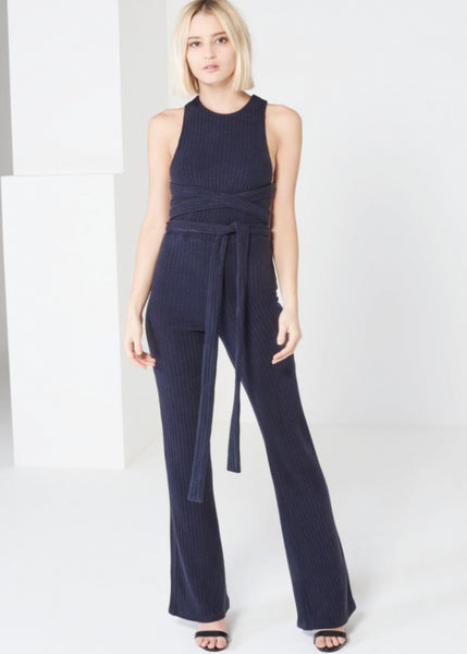 Navy Rib Knit Open Back Jumpsuit