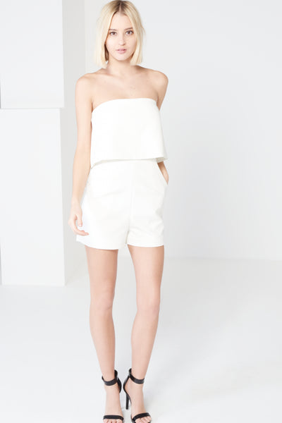 White Bandeau Cropped Playsuit