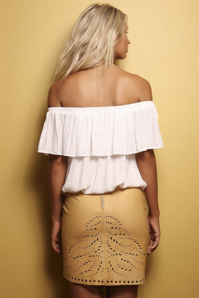 Samaya Leather Skirt - Camel