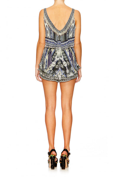 TIE THE KNOT PLAYSUIT W TIERED OVERLAY