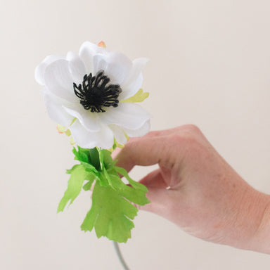 Silk White Anemone Flower with Black Center