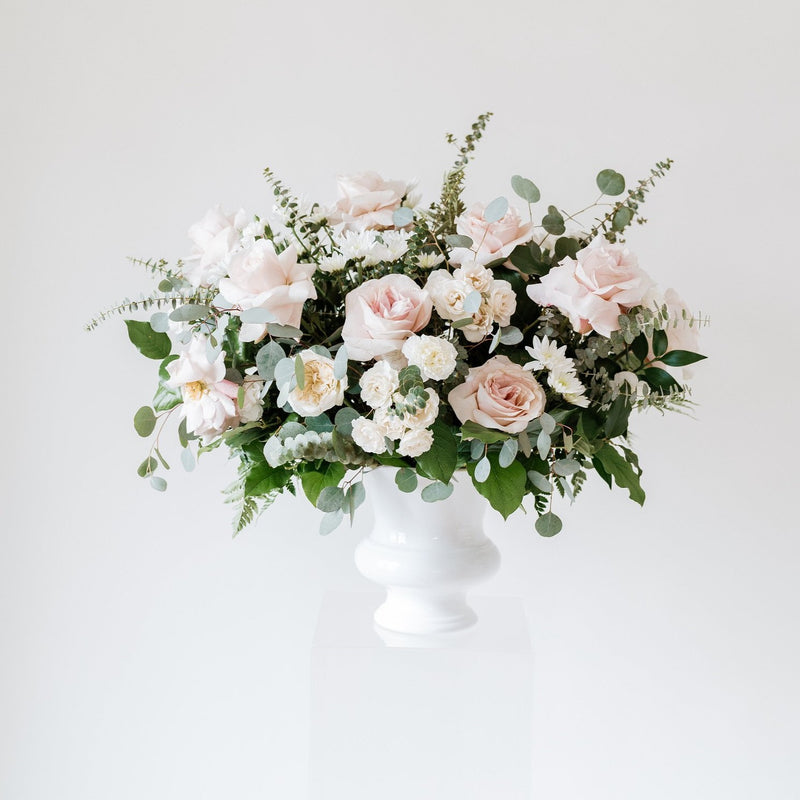 Dusty Rose and Cream Ceremony Wedding Flowers with Quicksand Roses by Flower Moxie