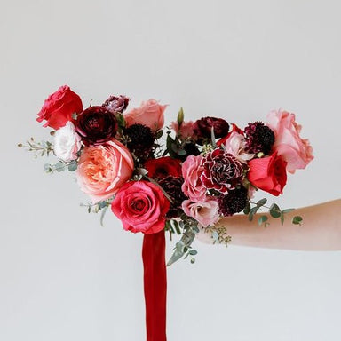 Pinks and raspberry DIY Bridal and Bridesmaid Bouquets by Flower Moxie