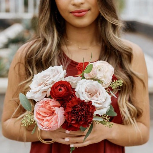 Red DIY Wedding Bouquet by Flower Moxie.