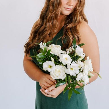 Deep Emerald and Cream DIY  Wedding Bouquet and Bridesmaid Flower Moxie