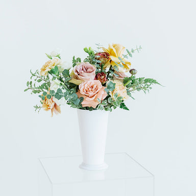 Tall white Mint Julep Cup centerpiece