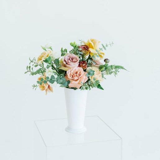 Mustard, Mauve, and Peach Centerpiece for DIY Wedding