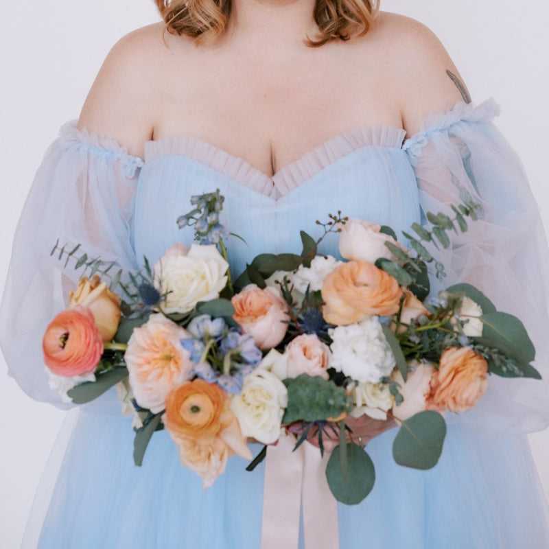 Peach and Blue Bridal Bouquet for DIY Wedding Flowers