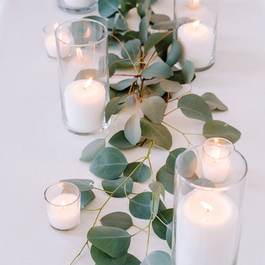 Loose Silver Dollar Eucalyptus Table Runner Greenery