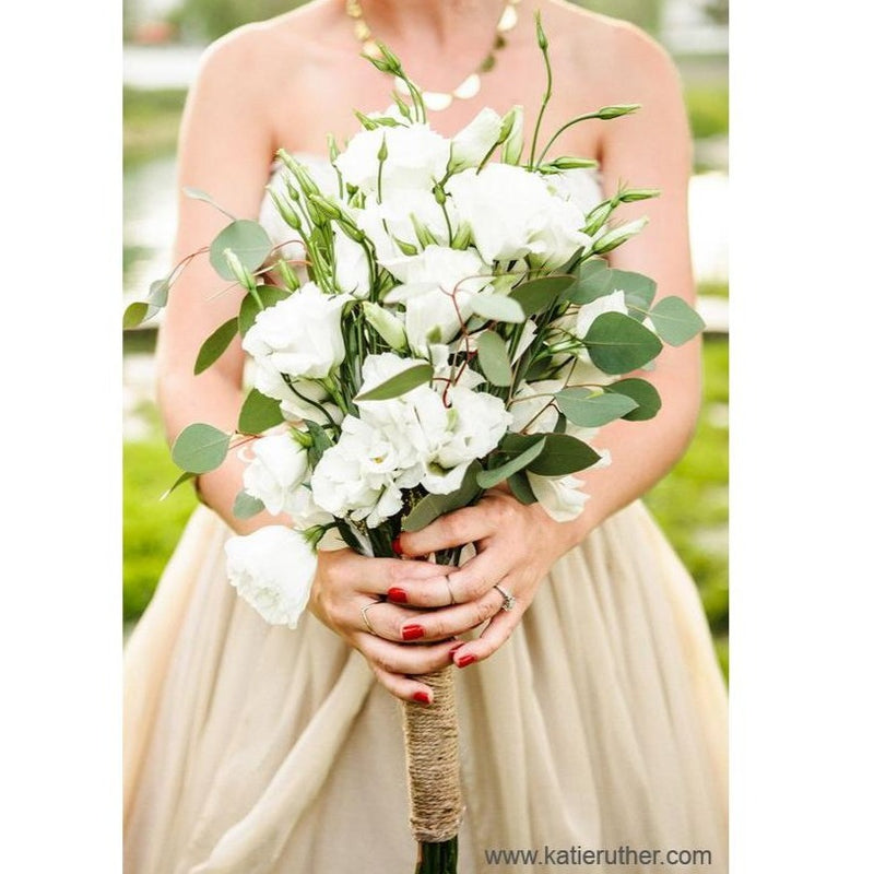 White Lisianthus and Eucalyptus Bouquet
