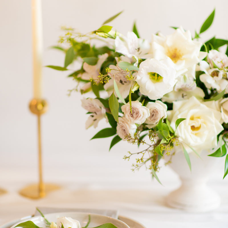 Cream and Sage DIY Centerpiece by Flower Moxie