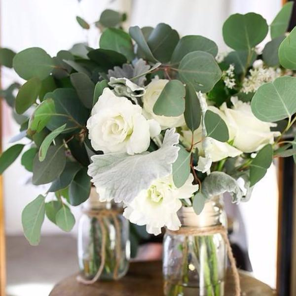 Silver Dollar Eucalyptus with Roses