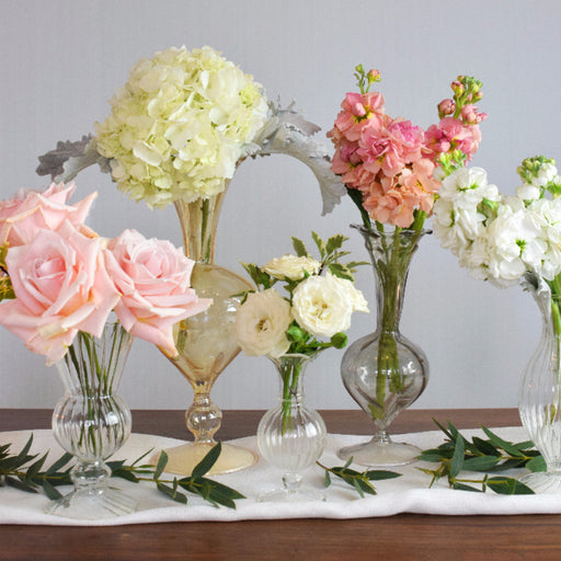 DIY flowers | DIY bride | DIY wedding | blush centerpiece | blush bud vase | white hydrangeas | blush pink roses | white spray roses | blush pink stock | silver queen pittosporum | DIY arrangements