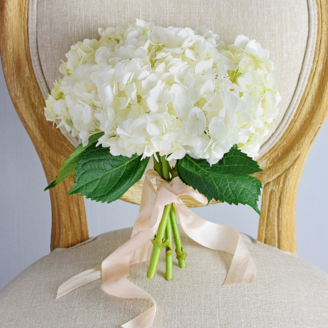 White Hydrangea Bridesmaid Bouquet — Flower Moxie