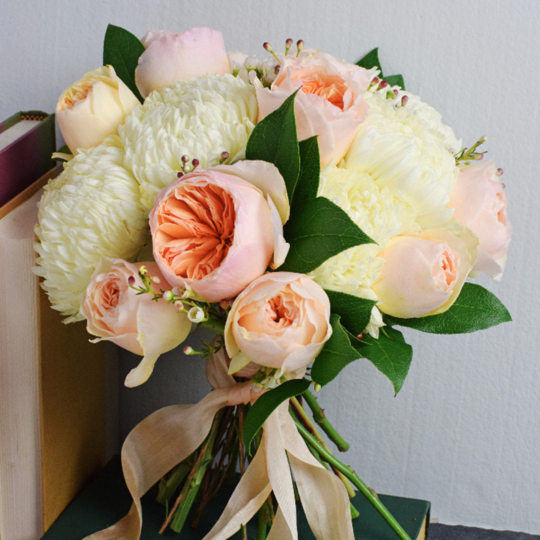 Peach Garden Rose Bridal Bouquet