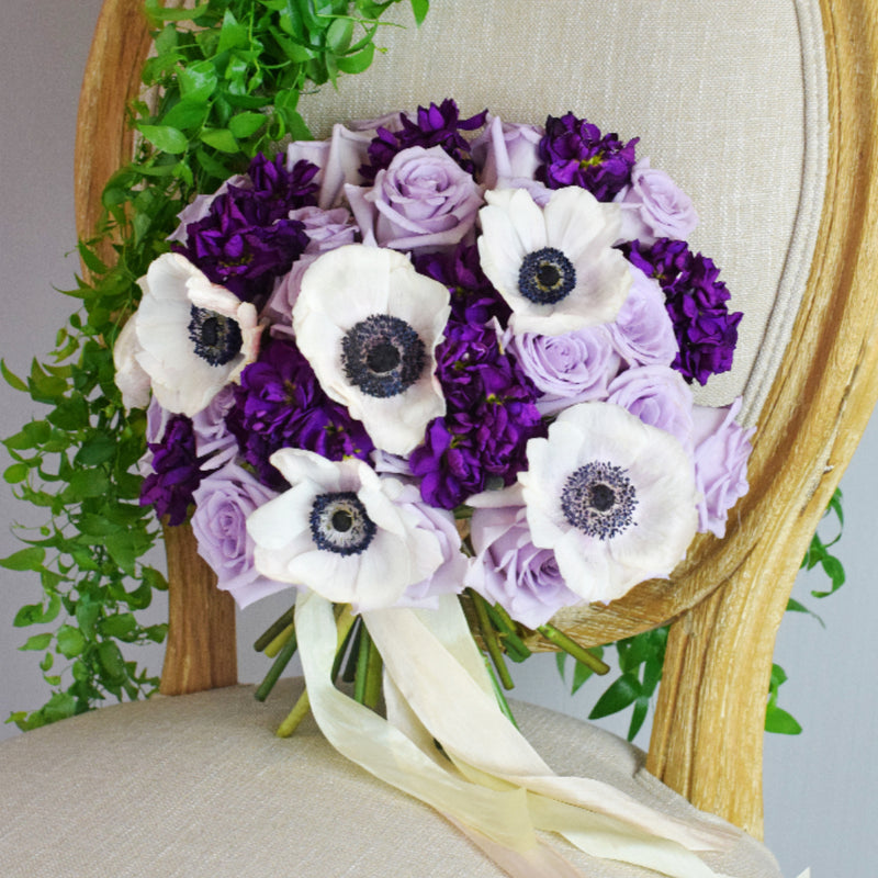 Ocean Song Lavender Rose and anemone bouquet