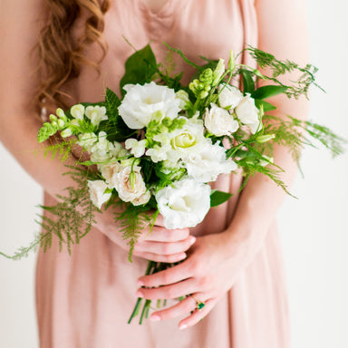 Flower Moxie, DIY Bridesmaid Bouquet, Plumosa Bouquet, fern wedding, cream and green wedding