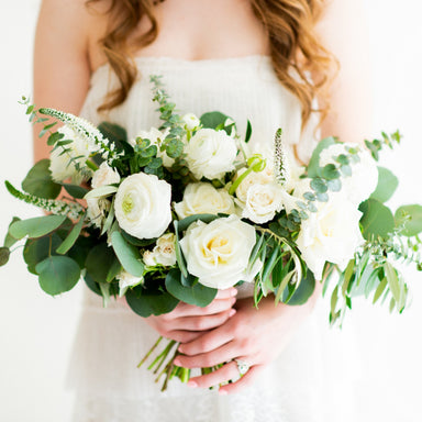 Cream and Sage Bridal and 4-5 Bridesmaid Bouquets