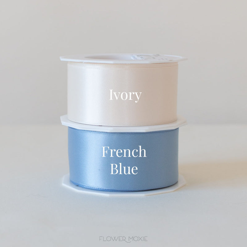 ivory and french blue satin ribbon