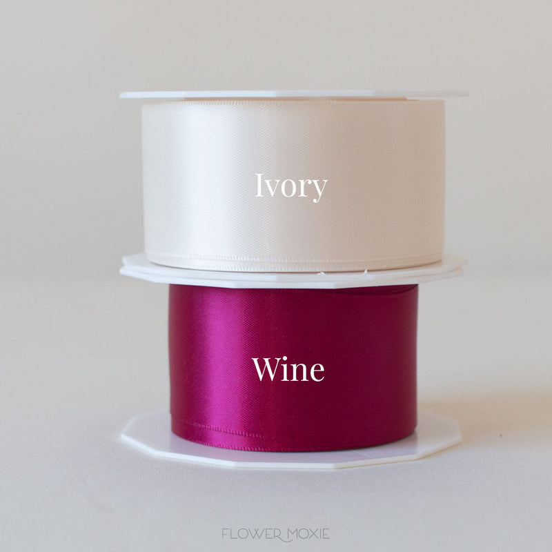 ivory and wine satin ribbon