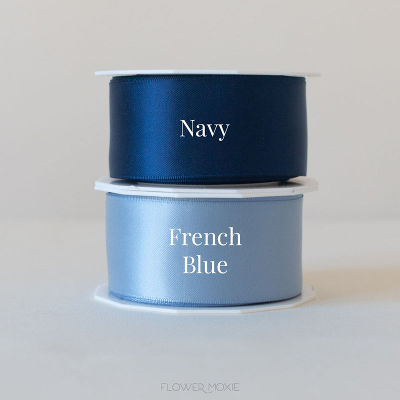 navy blue and french blue satin ribbon
