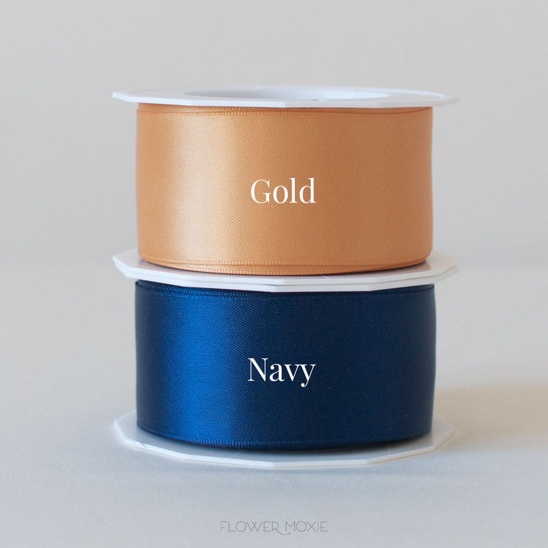 old gold and navy blue satin ribbon