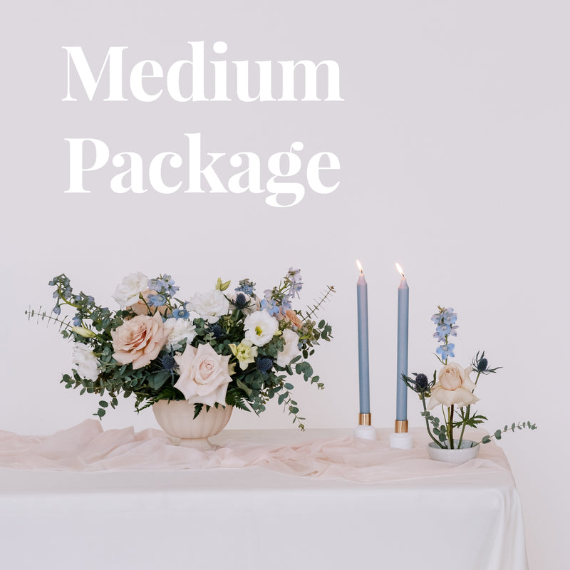 dusty blush and blue wedding flower package