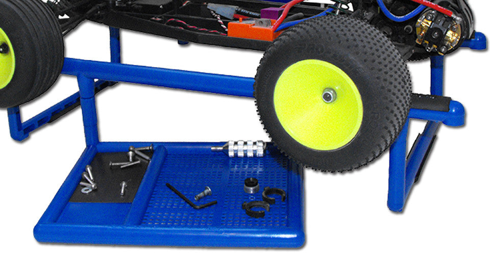 Large Divided Parts Tray and Rubber Inserts Securely Hold RC Cars and RC Monster Trucks