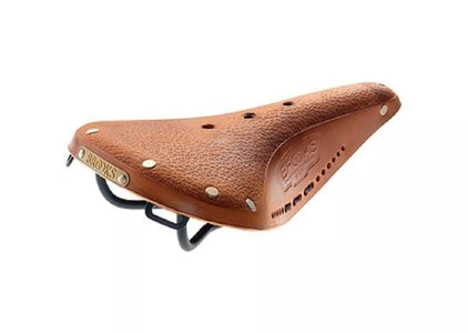 Brooks Flyer Saddle Pre-Aged in Tan With Laces - Black Steel Rail