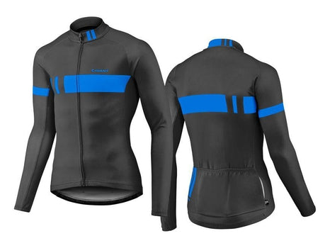 Giant Podium Thermal Long Sleeve Jersey BLACK / BLUE LARGE