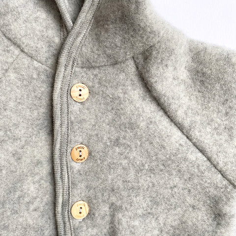 Engel: Hooded Wool Fleece Jacket - Grey Melange Engel - Bon Tot