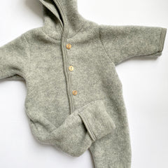 Engel: Hooded Wool Fleece Overall - Grey Melange Engel - Bon Tot