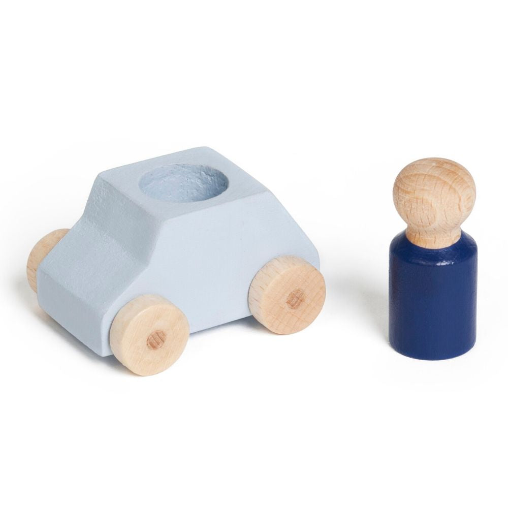 Lubulona: Wooden Car and Figure - Grey/Blue