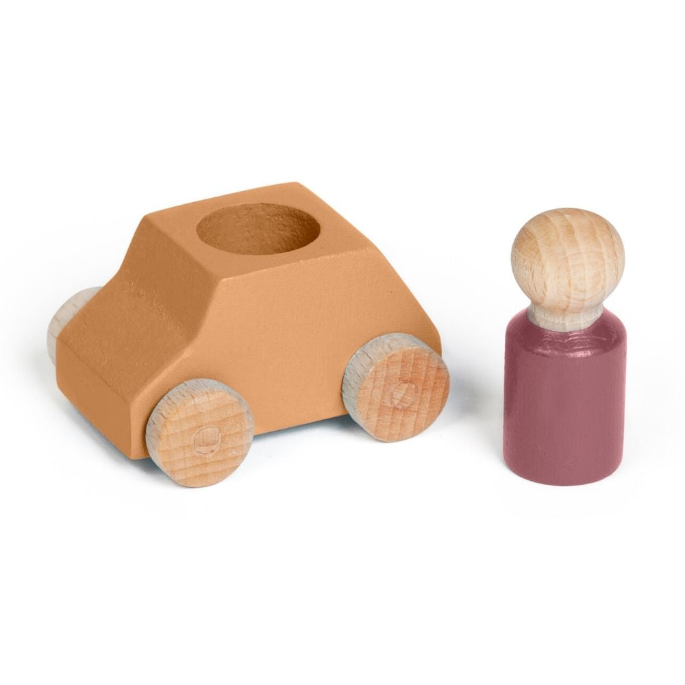 Lubulona: Wooden Car and Figure - Ochre/Plum