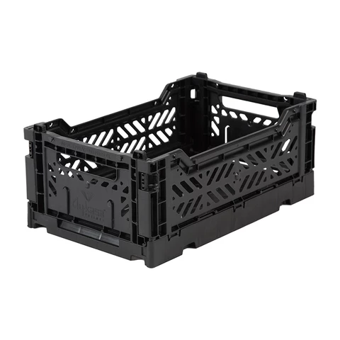 Folding Crate: Mini Stackable Storage Crate - Black