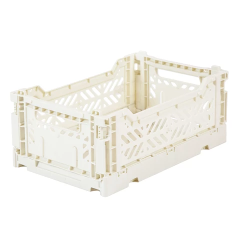 Folding Crate: Mini Stackable Storage Crate - Coconut Milk