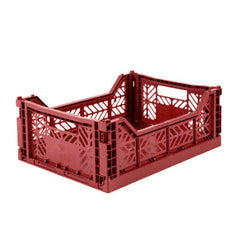 Folding Crate: Midi Stackable Storage Crate - Tile Red Folding Crates - Bon Tot