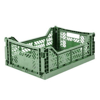 Folding Crate: Midi Stackable Storage Crate - Almond Green Folding Crates - Bon Tot