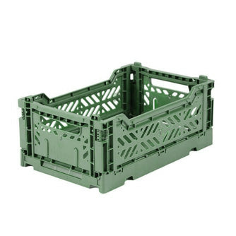 Folding Crate: Mini Stackable Crate - Almond Green Folding Crates - Bon Tot