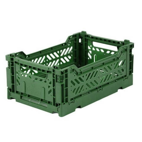 Folding Crate: Mini Stackable Storage Crate - Dark Green
